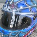 Aerografia su casco con tele di ragno
